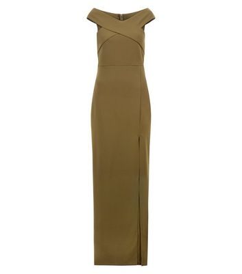 AX Paris Olive Green Bardot Neck Slip Side Maxi Dress New Look
