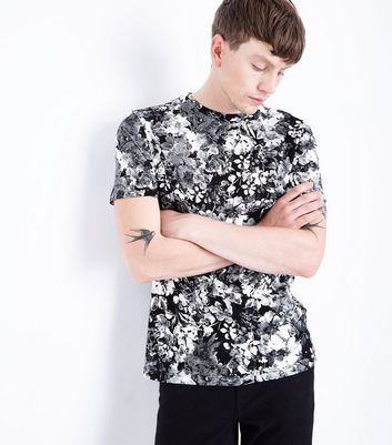 Black Floral Print T-Shirt New Look