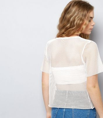 White Fishnet Lace T-Shirt New Look