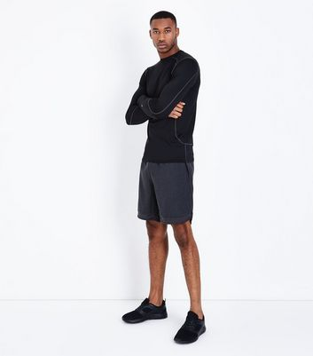 Black Hem Insert Running Shorts New Look
