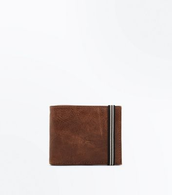 Brown Stripe Elastic Textured Wallet New Look