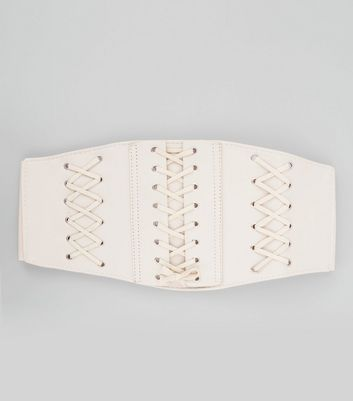 Nude Triple Corset Lace Up Belt New Look