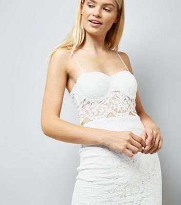 White Lace Longline Bralet New Look