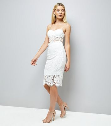 White Lace Pencil Skirt New Look