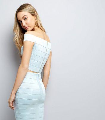 Pale Blue Bandage Bardot Neck Top New Look
