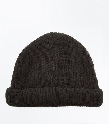 Black Ribbed Beanie New Look