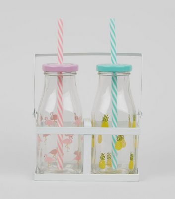 Transparent Tropical Print Glass Bottles New Look