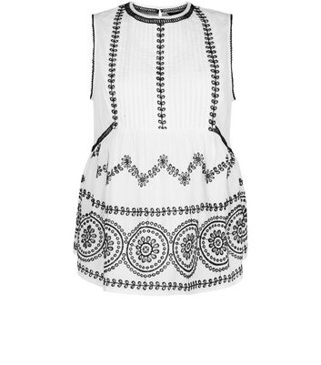 White Cut Out Sleeveless Top New Look