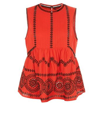 Red Cut Out Sleeveless Top New Look