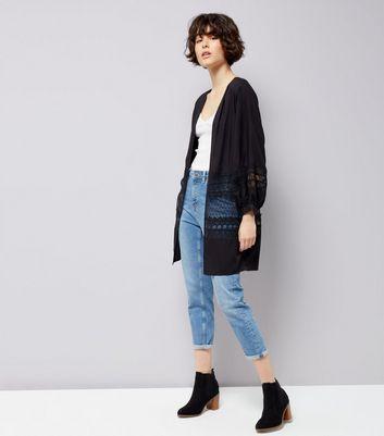 Black Lace Trim Mesh Panel Kimono New Look