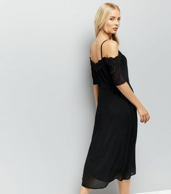 Black Cold Shoulder Midi Dress New Look