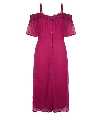 Deep Pink Cold Shoulder Midi Dress New Look