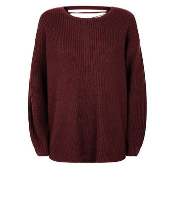 Burgundy Lattice Back Ribbed Jumper New Look