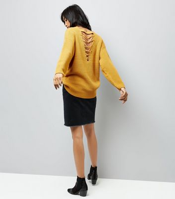 Yellow Lattice Back Ribbed Jumper New Look