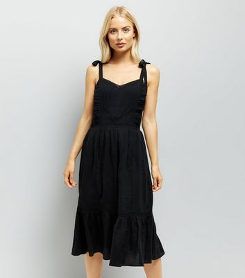 Black Tie Straps Tiered Sundress New Look