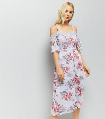 Lilac Floral Print Lace Trim Cold Shoulder Midi Dress New Look