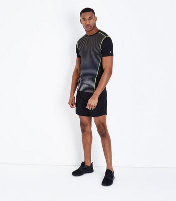 Black Stripe Panel Sports T-Shirt New Look