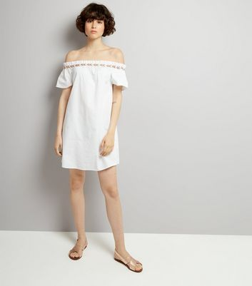 White Embroidered Trim Cold Shoulder Dress New Look