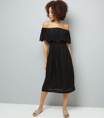Black Cut Out Detail Cold Shoulder Midi Dress New Look