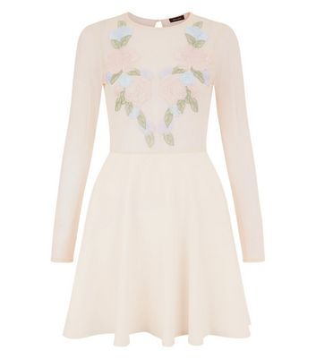 Pink Floral Embroidered Mesh Panel Skater Dress New Look