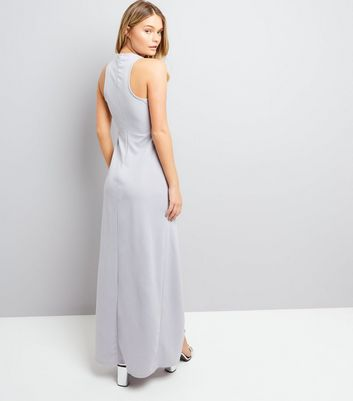 AX Paris Silver Cross Strap Front Maxi Dress New Look