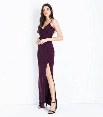 AX Paris Dark Purple V Neck Split Side Maxi Dress New Look