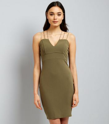 AX Paris Olive Green Strappy Dress New Look