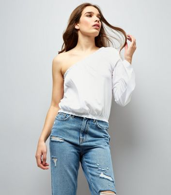 White Flared Sleeve Off the Shoulder Top New Look