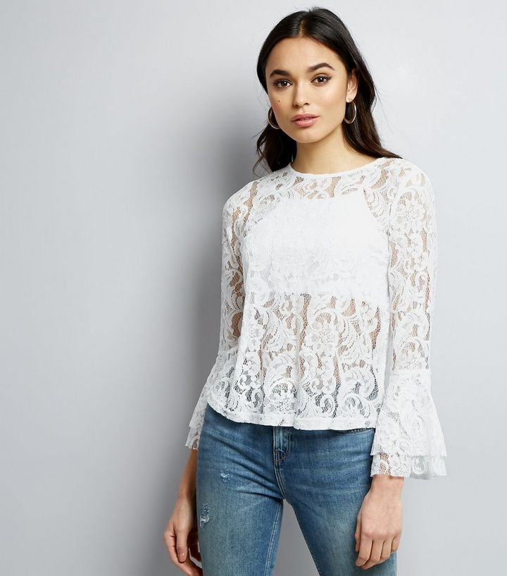 305fd0ce3987a3 Cameo Rose White Lace Frill Sleeve Top | New Look