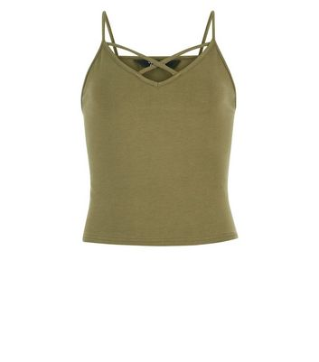 Teens Khaki Lattice Front Cami New Look