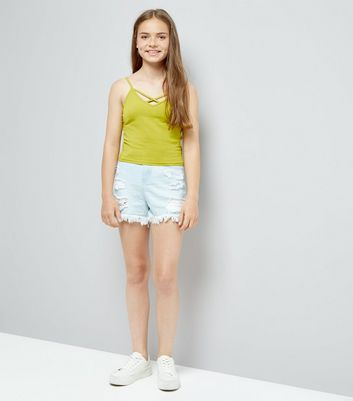 Teens Yellow Lattice Front Cami New Look