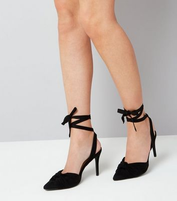 Black Ankle Tie Pointed Heels New Look