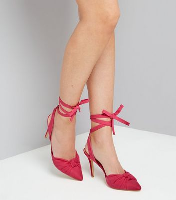 Pink Ankle Tie Pointed Heels New Look