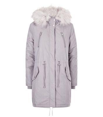 Grey Faux Fur Trim Hooded Fishtail Parka New Look