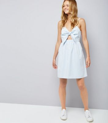 Pale Blue Bow Front Sundress New Look