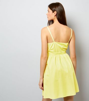 Yellow Bow Front Sundress New Look