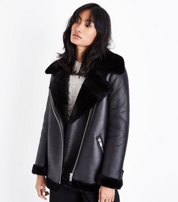 Black Faux Fur Lined Aviator Jacket New Look