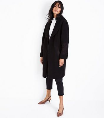 Black Faux Shearling Longline Coat New Look