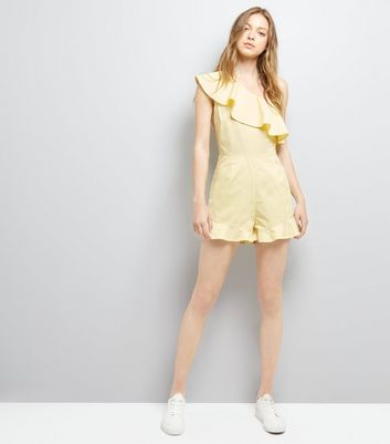 Yellow Frill Trim Off the Shoulder Playsuit New Look