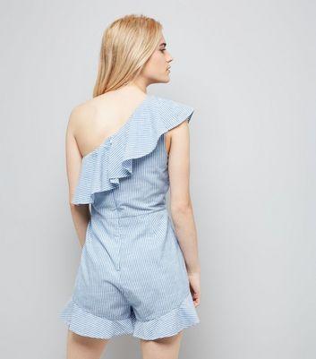 Blue Stripe One Shoulder Frill Hem Playsuit New Look