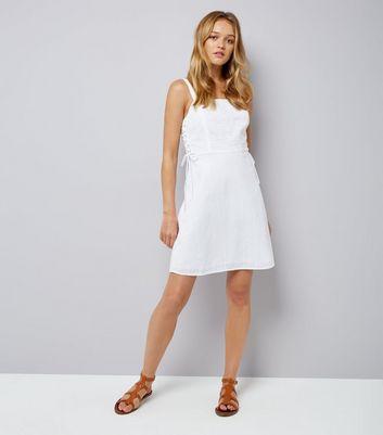 White Tie Side Skater Dress New Look