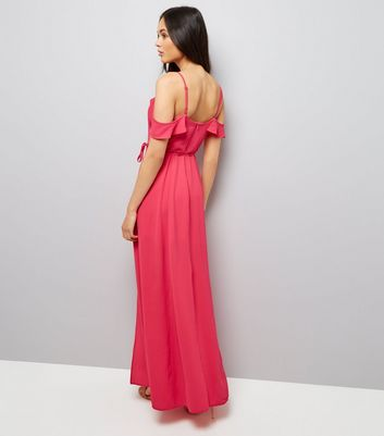 Pink Frill Strap Cold Shoulder Maxi Dress New Look