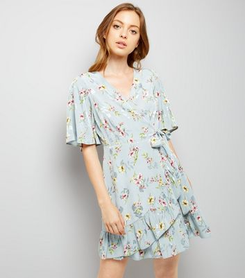 Blue Floral Print Wrap Front Dress New Look