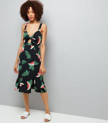 Black Watermelon Print Tie Front Midi Dress New Look