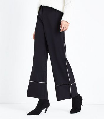 Black Piped Trim Wide Leg Trousers New Look