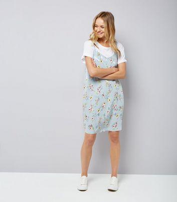 Pale Blue Floral Jaquard Slip Dress New Look