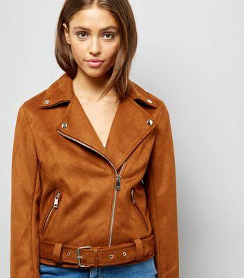 Tan Suedette Biker Jacket New Look