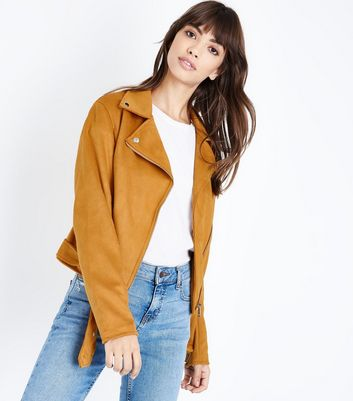 Mustard Yellow Suedette Biker Jacket New Look