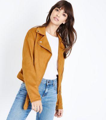Yellow Suedette Biker Jacket New Look