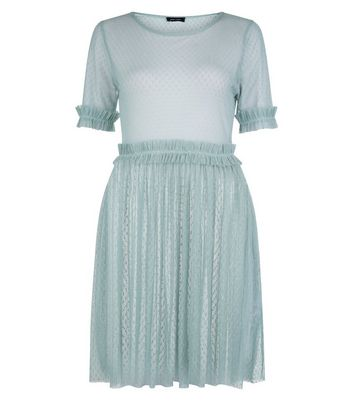 Pale Blue Spot Mesh Frill Trim Skater Dress New Look